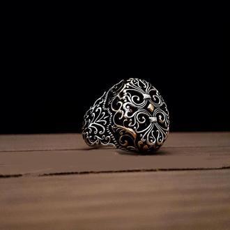 Инкрустационное кольцо мужское из натурального качественного серебра ручной работы с орнаментом