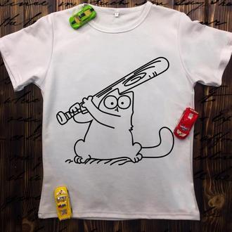 Женская футболка с принтом Кот Саймон с битой Push IT