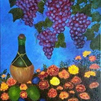 Натюрморт маслом Гроздьев винограда Бутылки вина Цветов календулы, холст на подрамнике, 80*50 см