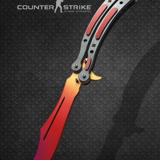 Нож Бабочка деревянный КС ГО Градиент CS GO Batterfly knife (Balisong) Fade