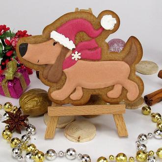 Пряник Собака в новогодней шапке