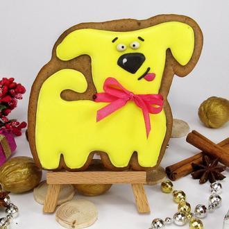 Пряник прикольная желтая собака
