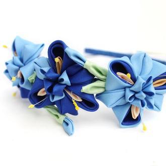 Обруч для волос с цветами, синий