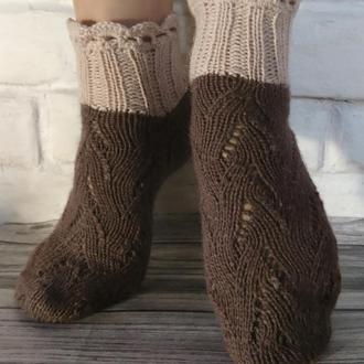 Ажурные вязаные носки - вязаные носочки для дома - красивые носки в подарок