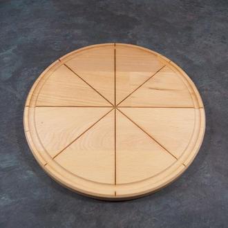 """Доскакруглая для подачи и нарезки пиццы с желобком пазами разметкой для порезки""""Ломтик"""" 29см"""