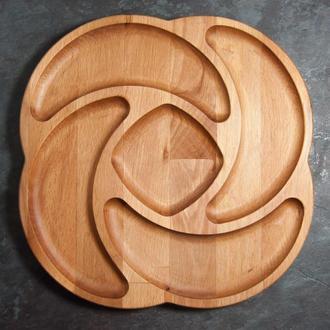 """Менажница из дерева секционная тарелка с отсеками для подачи мясных блюд, закусок и нарезки """"Мистик"""""""