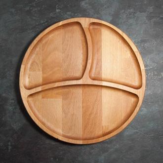 """Менажница деревянная три секции тарелка с разделителями для подачи мясных блюд и гарнира """"Смайл"""" бук"""