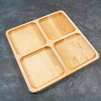 """Менажница деревянная секционная тарелка с разделителями для подачи мясных блюд и закусок """"Окно"""" бук"""