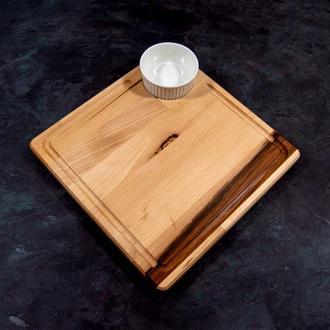 """Сервировочная доска деревянная тарелка для подачи стейка шашлыка мяса мясных блюд суши порционная """"К"""