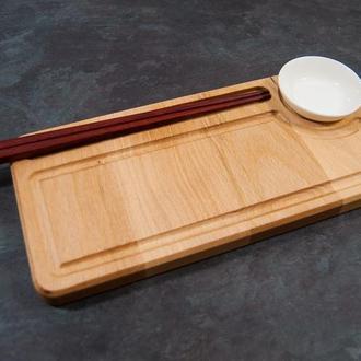 """Сервировочная доска деревянная тарелка блюдо для подачи суши роловпорционная """"Абсолют"""""""