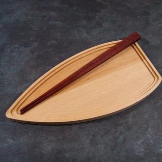 """Сервировочная доска деревянная тарелка блюдо для подачи суши роловпорционная """"Лодочка"""""""