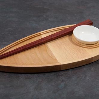 """Сервировочная доска деревянная тарелка блюдо для подачи суши роловпорционная """"Фрегат"""""""
