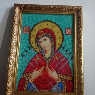 """Икона вышитая бисером """" Семистрельная"""""""