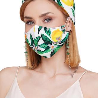 Летний набор тюрбан +маска +цепочка для маски и очков