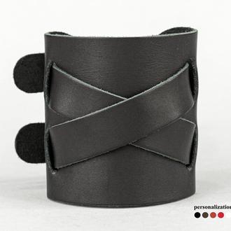 Широкий кожаный браслет на двух пряжках, код 6450