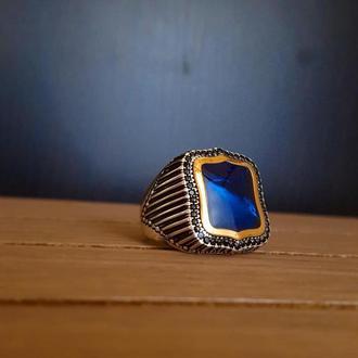 """Красивый перстень цвета """"сапфир"""" из серебра ручной работы мужской"""