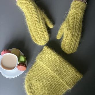 Комплект шапка рукавички, Вязана шапка рукавички, Вязані рукавички