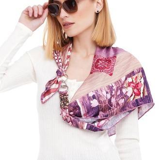 Шелковый платок ,, Розовый фламинго ,,   от бренда my scarf, подарок женщине.
