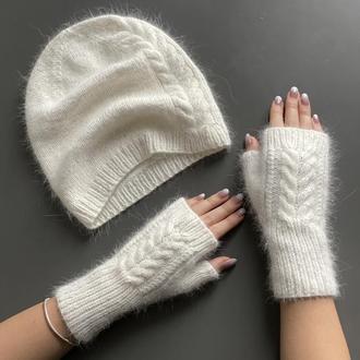Шапка рукавички, Шапка мітенки, комплект шапка рукавички, вязані рукавички, біла вязана шапка