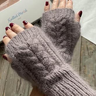 Вязаные митенки из пуха норки, Пушистые рукавички без пальцев, Вязаные митенки ручная работа