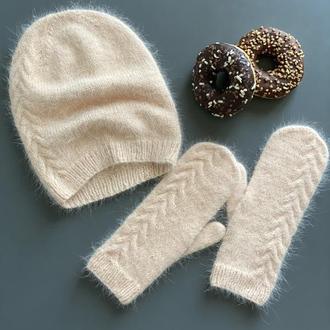 Комплект шапка біні з рукавичками, Шапка Рукавички з пуху норки, Вязана шапка, Вязані рукавички