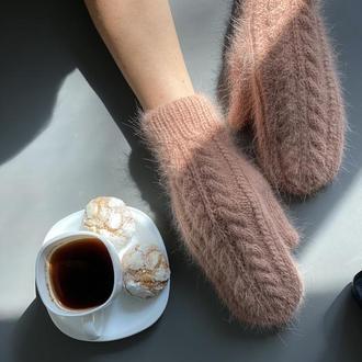 Вязаные Варежки из пуха норки, Рукавички с косичками, Модные варежки, Пушистые рукавички