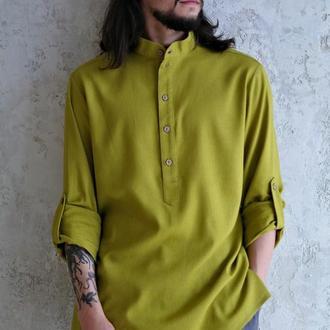 Мужская рубашка из натурального льна с закатывающимися рукавами