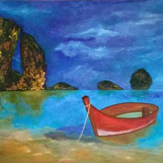 Картина олією  Морський пейзаж з човном, полотно на підрамнику, 45 * 65 см