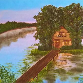 Картина олією Пейзаж з озером, полотно на підрамнику, 40 * 55 см
