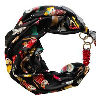 """Дизайнерский  платок """"Черный кот''  от бренда my scarf, подарок женщине."""