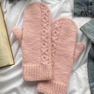 Вязаные варежки розовый цвет, Модные Варежки ручной работы, Рукавички из пуха норки, Модные варежки