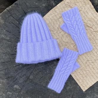 Набір вязана шапка і рукавички без пальців, Комплект шапка-біні з Вязані мітенки