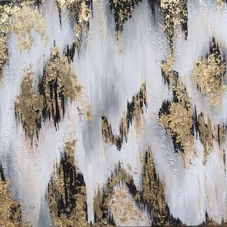 Интерьерная картина Золотой дождь, холст на подрамнике, акрил, золотая поталь.