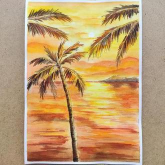 """Акварельна картина """"Тропічне сонце"""", морський пейзаж, формат А4"""
