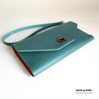 Женский кошелек из натуральной кожи.Цвет комбинированный.