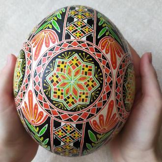 Писанка на страусином яйце с цветком