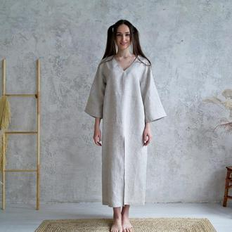 Платье из 100% натурального неокрашенного льна