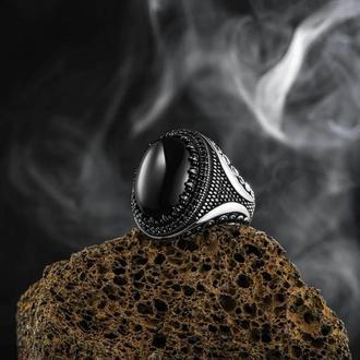 Перстень с большими камнями кольцо мужское из серебра 925 пробы ручной работы с тигровым глазом