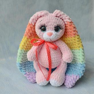 Плюшевая зайка с цветными ушками и ресничками. Рост 23 см. Подарок девочке на День рождение, новый г