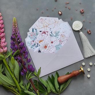 Конверт з перламутрового дизайнерського паперу Stardream з квітковим лайнером і геометричним принтом