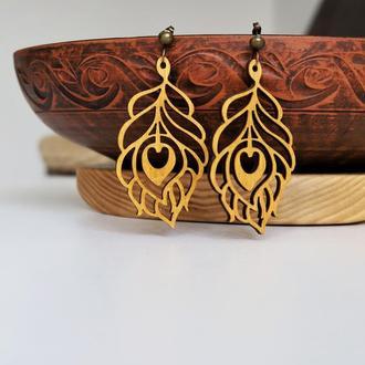Деревянные серьги. Украшения из дерева. Натуральные украшения