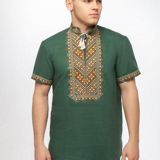 Сорочка чоловіча Бажан (льон зелений)