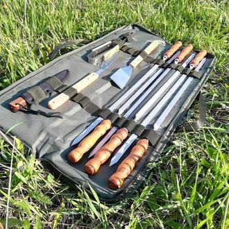 """Набір 6 шампурів для люля-кебаб """"Master"""" (730х15х3 мм) + набір для барбекю + super чохол-книжка"""