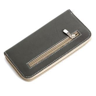 Женский кожаный кошелек на молнии LIKA (серый)