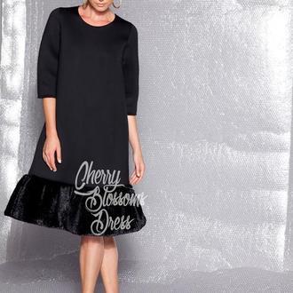 Черное неопреновое зимнее миди экстравагантное платье на Новый год