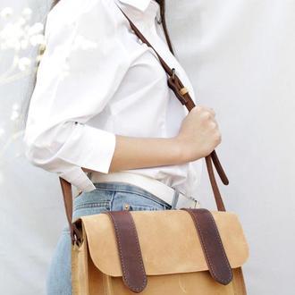 Шкіряна жіноча сумочка через плече бежевий Сэтчел