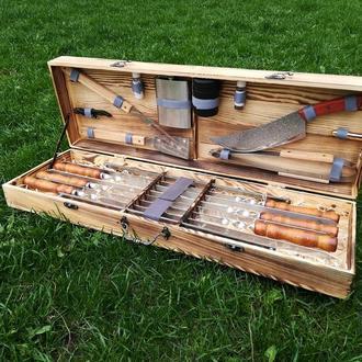 """Набір з 6 шампурів для м'яса і люля-кебаб """"Master"""" (730х15х3 мм) + комплект аксесуарів в дерев'яному"""