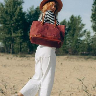 "Сумка-шоппер. Женская сумка ""Adele"".Сумка на плечо. Бордовая сумка. Винтаж."