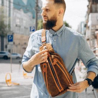 """Нагрудная сумка-слинг """"Bronx"""". Сумка через плечо. Стильная унисекс сумка. Вощеный канвас и нат. кожа"""