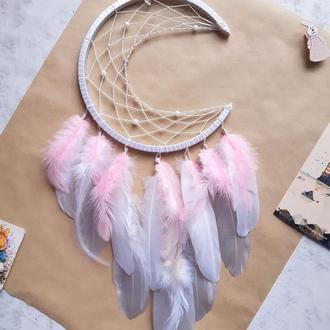 Ловец снов Полумесяц  луна нежный розовый подарок для девочки оберег декор для дома